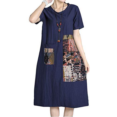 Women Summer Linen Cotton Dresses Loose Bohemian Print Short Sleeve A-Line Dress Casual Cozy Plus Size Beach Swing Dress (Navy, ()