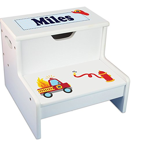 Personalized Fire Truck White Childrens Step Stool with Storage