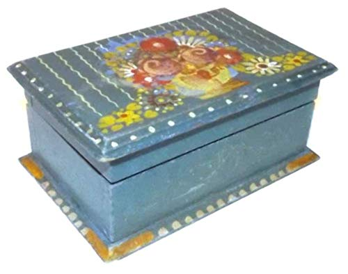 Vintage Hand-Painted Tole Painted Wooden Box w/Floral Bouquet on Lid