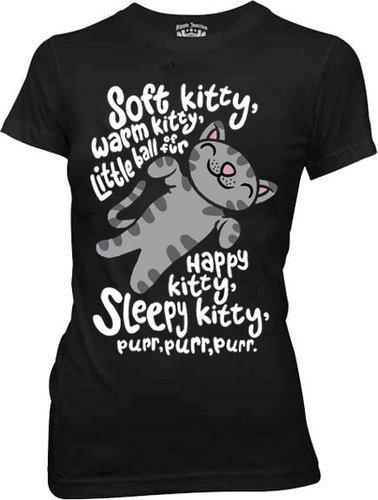 (The Big Bang Theory Soft Kitty Warm Kitty BLACK Juniors T-Shirt (Juniors Medium))