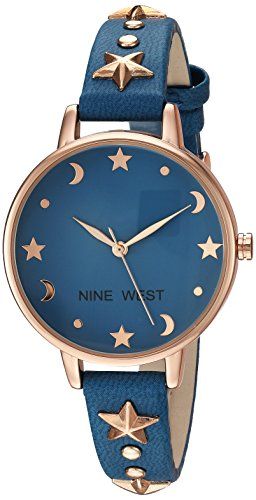 - Nine West Women's NW/2126RGBL Star Accented Rose Gold-Tone and Blue Strap Watch