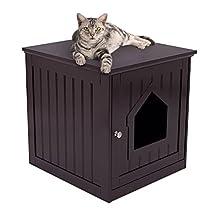 Internet's Best Decorative Cat House & Side Table | Cat Home Nightstand | Indoor Pet Crate | Litter Box Enclosure (Standard, Espresso)