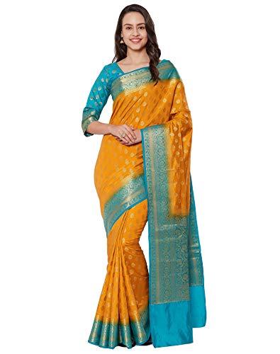 Mustard Saree - Viva N Diva Sarees for Women's Banarasi Kanchivaram Silk Mustard Saree with Un-Stiched Blouse Piece,Free Size