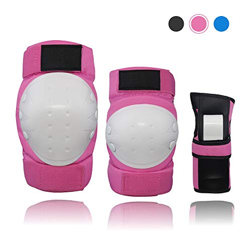 Lucky-M Adult Kids Knee Pads Elbow Pads Wrist Guards Set,6 in 1 Protective Gear Set for Multi Sports Skateboarding Inline Roller Skating Cycling Biking BMX Bicycle Scooter (S/M/L) (Pink, S(15-23kg))