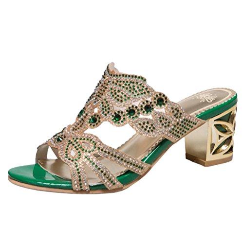 Femmes green Sandales Mules RAZAMAZA Bloc 6dz86w