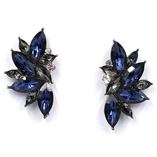 (Vintage Design Crystal Earrings Women Statement Stud Earrings Women Earrings Jewelry Blue)