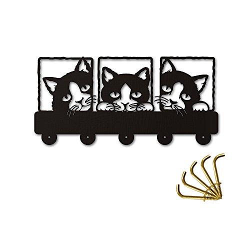 Peeping Cat Wood Coat Hook 3D Meow Wall Art Animal Creative Triple Cat Theme Cute Wall Art Home Decor Wall Mounted Hanger Hooks