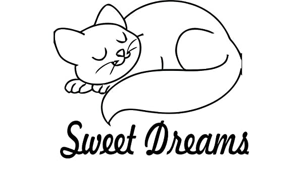 Cat Kitty Pet Best Friend Sweet Dreams Baby Nursery Wall Decals for Babies Walls//Bed Time Night Time Sleep Sleeping Kids Bedroom Art Vinyl Decor Stickers Ideas Designs Stars Size 20x20 inch