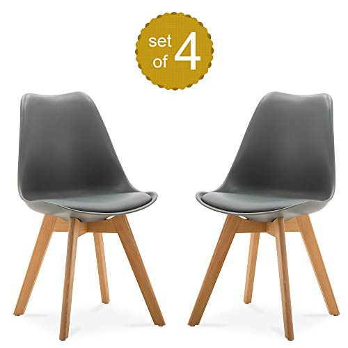 Modern Retro Style Soft Padded PU Leather Dining Chairs with Beechwood Legs - 4 Pieces - Living Room Kitchen Guest Room - Home and Office Use (Grey) ()