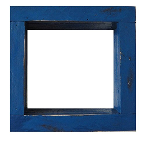 Square Wood / Wooden Shadow Box Display - 12'' x 12'' - Periwinkle - Decorative Reclaimed Distressed Vintage Appeal by IGC