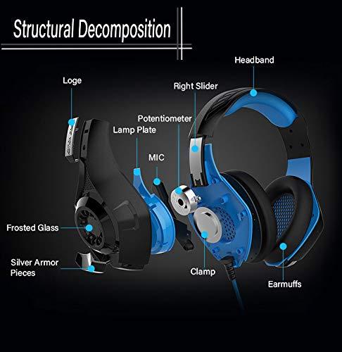 Pro Gaming Headset for PC PS4 Xbox One Surround Sound Over-Ear Headphones with Mic LED Light Bass Surround Soft Memory…