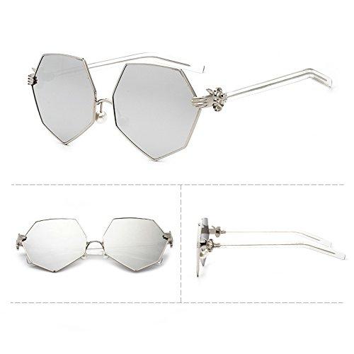 Sunyan nouvelle ronde de la Corée du Sud Chers hommes lunettes de soleil pilote star 3282 marée trendsetter Frame Silver,personnalité tranche transdermique bleu