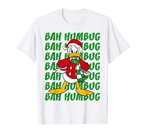 Disney Donald Duck Bah Humbug Christmas Text Stack T-Shirt