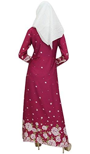 Stampato Bimba Donne Vestito Hijab Delle Con Digitale Bordeaux Islamico Abaya Burqa 1wwqApt