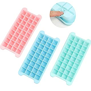 LFver Ice Cube Trays 3 Pack(With Cover),Ice Trays Silicone with Lids,LFGB Certified and BPA Free,Stackable Flexible Safe Ice Cube Molds and Dishwasher Safe.(36-Ice Cubes)