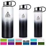 Hiwill Stainless Steel Insulated Water Bottle 2 Lids, Cold 24 Hours Hot 12 Hours, Double Wall Vacuum Thermos Flask, Travel Sports Leak Proof Metal Bottle with Straw (Tuxedo, 37 OZ)