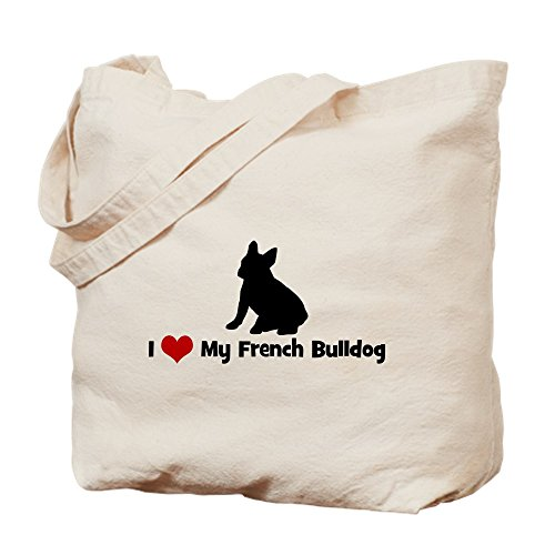 CafePress I Love My French Bulldog Natural Canvas Tote Bag, Cloth Shopping Bag ()