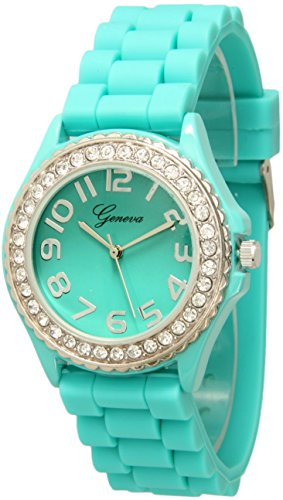 Geneva Crystal (Fashion Watch Wholesale Geneva Silicone Watch Unisex Crystals Rhinestones Wrist Watch Medium Size Dial (Aqua Blue))