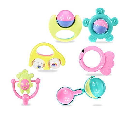 Supply Musical (Baby Rattle Set Toys,6 Pcs Shake Grab Baby Hand Rattle Hand Bell Musical Educational Toys for Baby Newborn Infant Toddler,Kindergarten Recreation Supply)