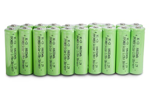 P-POWER 20 packs Solar Light AA Ni-CD 600mAh Rechargable Batteries