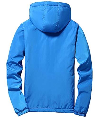 Colore Spesso Strato Vento Cerniera A Giacca uomini Zaffiro Giacca Universitario Howme Solido Stile Blu Di Outwear Owa1qxA