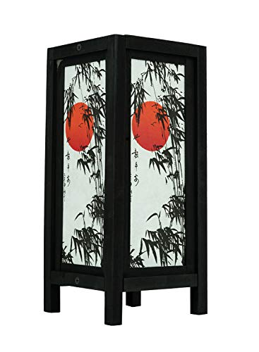 Thai Vintage Handmade ASIAN Oriental Handcraft Japanese Sunset Bamboo Tree Art Bedside Table Light or Floor Wood Lamp Home Bedroom Decor Modern Design from Thailand ()