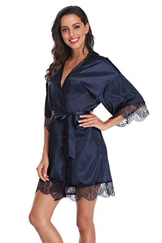 SUGAR JAN Women's Pure Color Satin Short Kimono Robes with Lace Trim Bridal Bathrobe Navy M ()