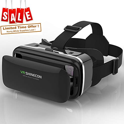 (Virtual Reality Glasses VR Headset, VR SHINECON VR Goggles for TV, Movies & Video Games - 3D VR Glasses Compatible with iOS, Android and Other Phones Within 4.7-6.0 inch)