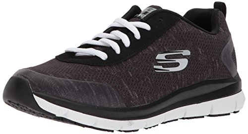 Skechers Work Womens Comfort Flex Hc Pro Sr Health Care And Food Service Shoe  Black White  9 M Us