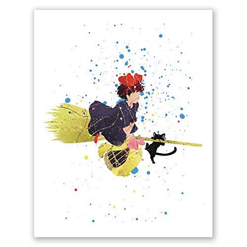 PGbureau Kikis Delivery Service Poster – Movie Anime Art Print - Studio Ghibli Hayao Miyazaki – Boys Girls Room Decor (8x10)