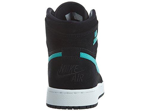 Nike Youth Air Jordan 1 Retro High Leather Trainers Black Hyper Jade White