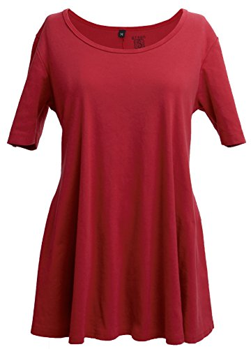 (Green 3 Solid Short Sleeve Tunic Top (Red) - 100% Organic Cotton Womens T Shirt, Made in The USA (X-Large))
