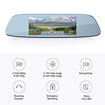 AUKEY Dash Cam Mirror 6.8″ LCD Touchscreen Car Camera with 1080p 170° Front Camera and 720p 160° Water-Resistant Rear Camera Backup Camera with Parking Mode, Motion Detection, G-Sensor, Loop