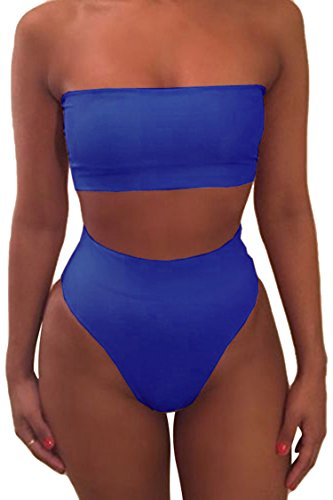 Viottiset Women's Pad Thong High Waisted Bikini Set 2PCS Swimsuit Sky Blue XL