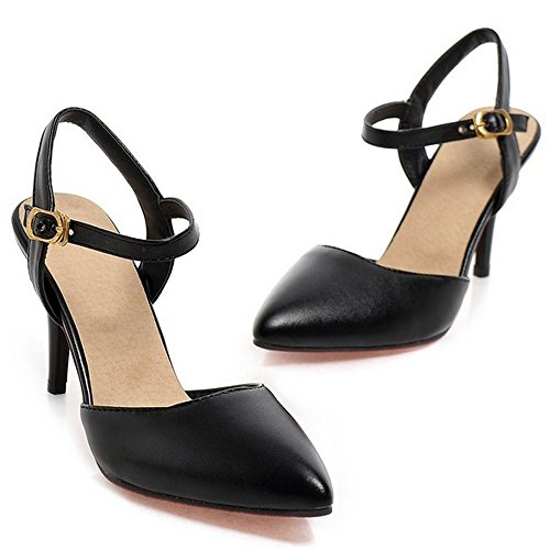 LongFengMa Sexy Ladies Pointed Toe Buckle Stiletto High Heels Sandals Shoes Black P22AMbA