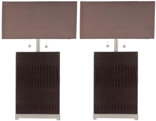 Safavieh Sofia Leather Table Lamp with Silk Chocolate Shade (Set of -