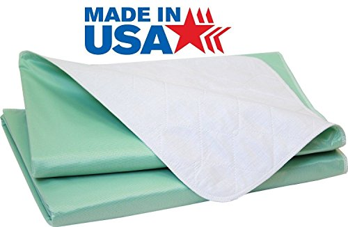 Head2Toe Big Size Washable Bed Pad / XXL Incontinence Underpad - 36 X 72 - Mattress Protector - GREEN