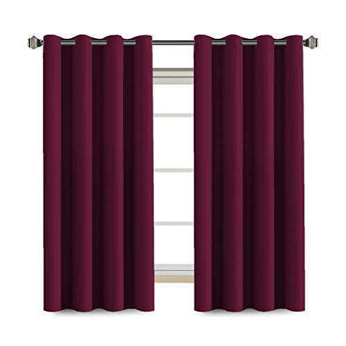 Navy Pink Red Royal Stone - H.VERSAILTEX Ultra Soft and Smooth Thermal Insulated Blackout Window Treatment Curtains for Bedroom,8 Grommets per Panel (Set of 2, 52 by 63 - Inch, Burgundy Red)