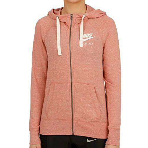 Hooded Vintage Sweatshirt - NIKE Womens Gym Vintage Full Zip Hooded Sweatshirt (S, Rust Pink/Sail)