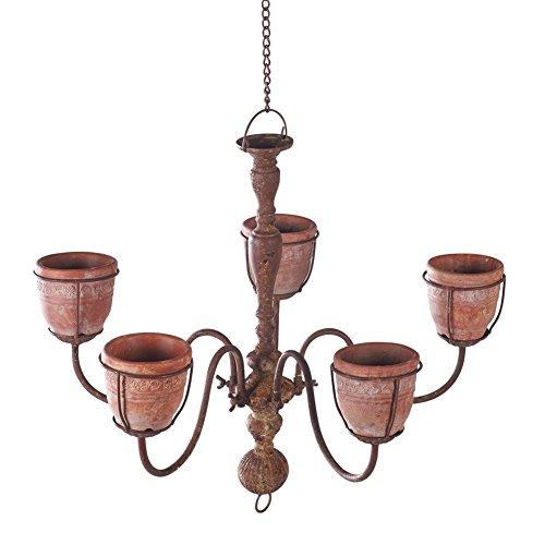 Chandelier Planter with 5 Cement Indoor/Outdoor Hanging Flower Pot Basket (Patina Large Outdoor Hanging)