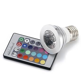 Bombilla eléctrica LED E27 con mando a distancia, multicolor: Amazon.es: Hogar
