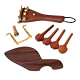 MonkeyJack Set of Rosewood 4/4 Violin Parts Chinrest Tuning Pegs Tailpiece Fine Tuners Endpin Kit