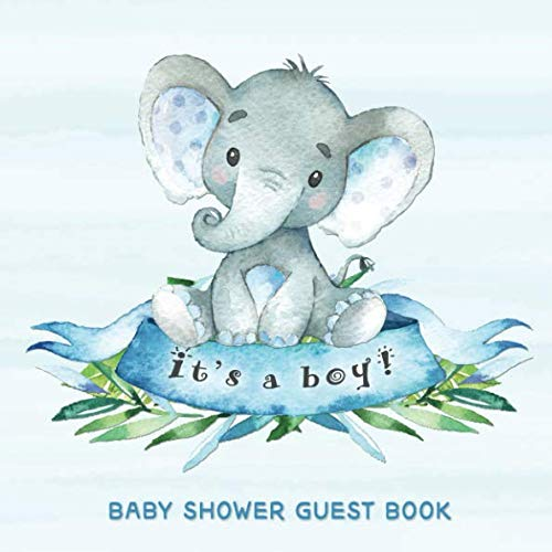 Baby Shower Guest Book: It's a Boy: Baby Elephant Guestbook + BONUS Gift Tracker Log and Keepsake Pages | Advice for Parents Sign-In | Blue with Grey Little Peanut for $<!--$8.99-->
