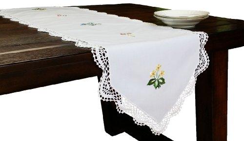 Xia Home Moda Crochet hecho a mano con bordado flores primavera camino de mesa, Blanco, 15 by 54-Inch, 1