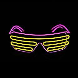 Pink + Yellow Shutter El Wire Flashing LED Sunglasses