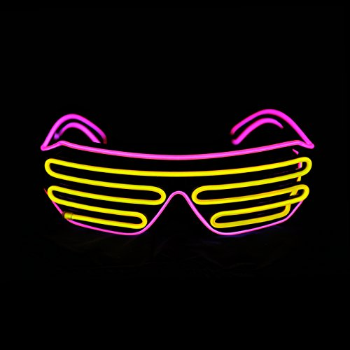 PINFOX Light Up Shutter Neon Rave Flashing Glasses El Wire LED Sunglasses Glow Costumes for Party, 80s, EDM RB03 (Pink - Yellow) -