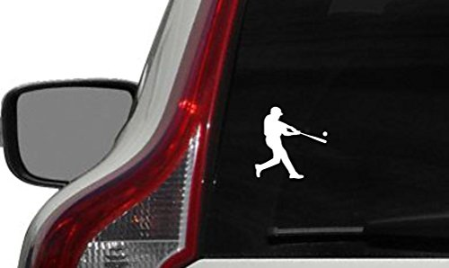 Baseball Player Silhouette Version 1 Swinging Bat Ball Car Vinyl Sticker Decal Bumper Sticker for Auto Cars Trucks Windshield Custom Walls Windows Ipad Macbook Laptop and More - Sun Glass Art Clip