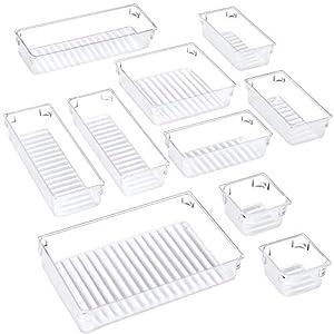 Puroma 10-pcs Desk Drawer Organizer Trays, 5 Different Sizes Large Capacity Plastic Bins Kitchen Drawer Organizers…