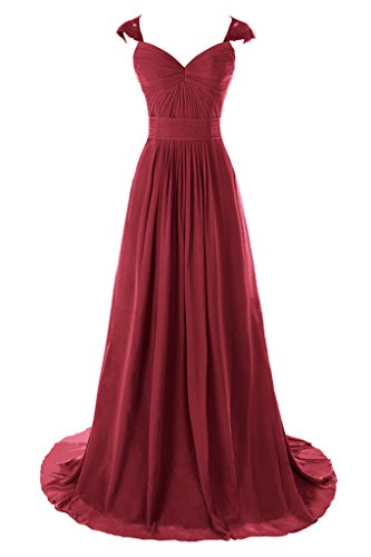 Dresstore Women's Capped Sleeve Lace Prom Dress Bridesmaid Dresses Hollow Back Dark Red US 12
