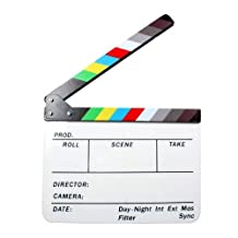 "Acrylic Clapboard 9.6x11.7"" /25x30cm Dry Erase Director Film Movie Clapper Board Slate with Color Sticks - White (White)"